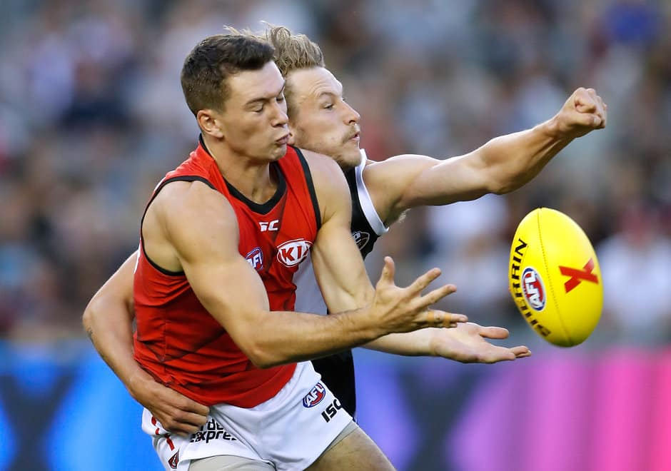 MELBOURNE, AUSTRALIA - FEBRUARY 16: Conor McKenna of the Bombers and Jimmy Webster of the Saints compete for the ball during the AFLX match between the St Kilda Saints and the Essendon Bombers at Etihad Stadium on February 16, 2018 in Melbourne, Australia. (Photo by Michael Willson/AFL Media)