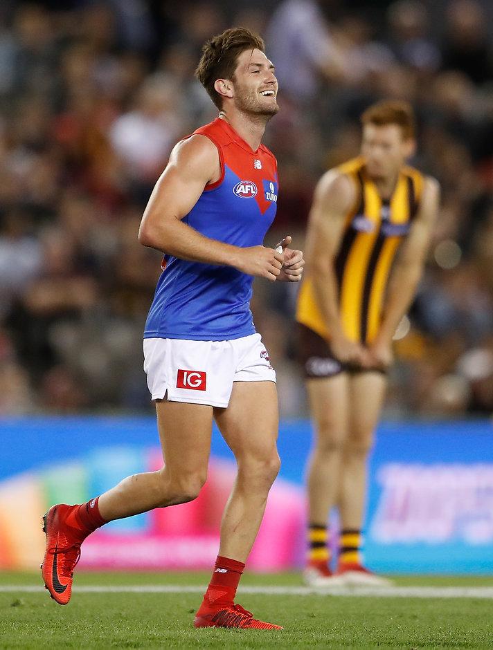 Demon Tom Bugg celebrates as the final siren sounds - AFL,AFLX,Carlton Blues,Melbourne Demons,Hawthorn Hawks,Essendon Bombers,North Melbourne Kangaroos,St Kilda Saints