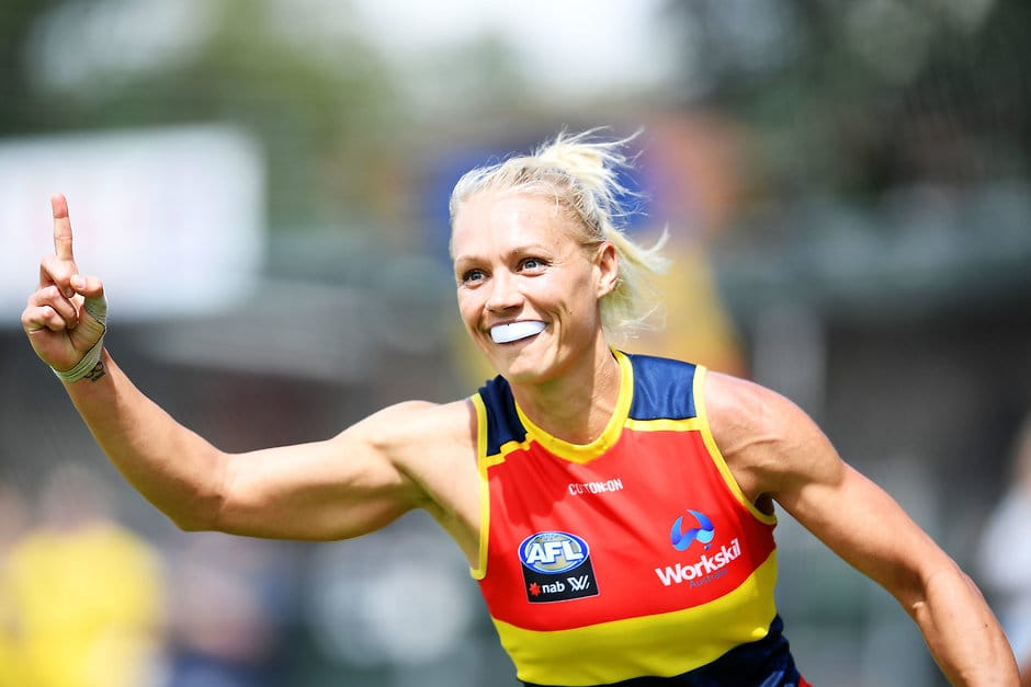 ADELAIDE, AUSTRALIA - FEBRUARY 17:  Erin Phillips of the Adelaide Crows celebrates snapping a goal to put the Crows in front during the round three AFLW match between the Adelaide Crows and the Western Bulldogs at Norwood Oval on February 17, 2018 in Adelaide, Australia.  (Photo by Mark Brake/Getty Images/AFL Media)