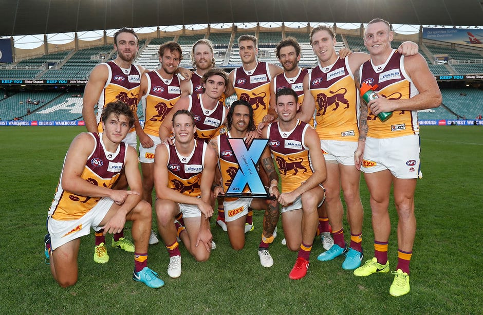 The Lions celebrate their win at AFLX Sydney - AFLX,Brisbane Lions,Dayne Zorko
