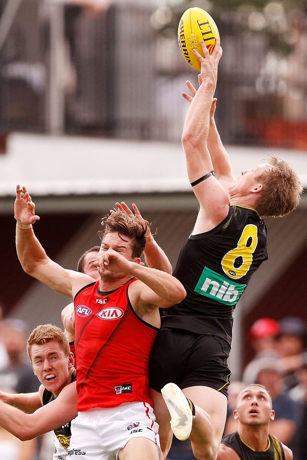 Jack Riewoldt takes an imperious mark during the Tigers' easy win - AFL,JLT Series,Essendon Bombers,Richmond Tigers
