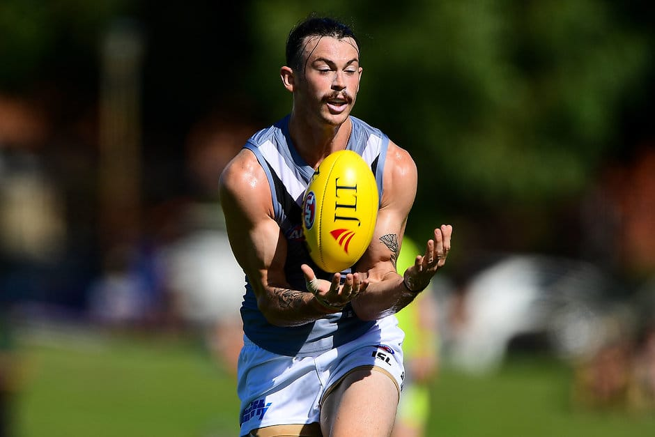PERTH, AUSTRALIA - FEBRUARY 25: Jasper Pittard of the Power takes a mark during the AFL 2018 JLT Community Series match between the West Coast Eagles and the Port Adelaide Power at Leederville Oval on February 25, 2018 in Perth, Australia. (Photo by Daniel Carson/AFL Media)