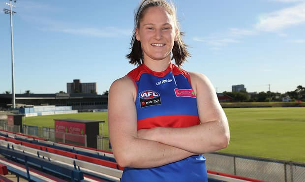 MELBOURNE, AUSTRALIA - FEBRUARY 27:  AFLW Rising Star Aisling Utri of the Western Bulldogs pose for a portrait on February 27, 2018 in Melbourne, Australia.  (Photo by Kelly Defina/AFL Media) - AFLW,Aisling Utri,Rising Star