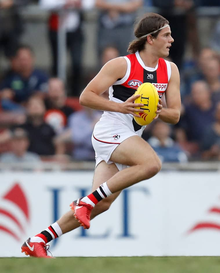 MELBOURNE, AUSTRALIA - FEBRUARY 28: Hunter Clark of the Saints in action during the AFL 2018 JLT Community Series match between the Carlton Blues and the St Kilda Saints at Ikon Park on February 28, 2018 in Melbourne, Australia. (Photo by Michael Willson/AFL Media)