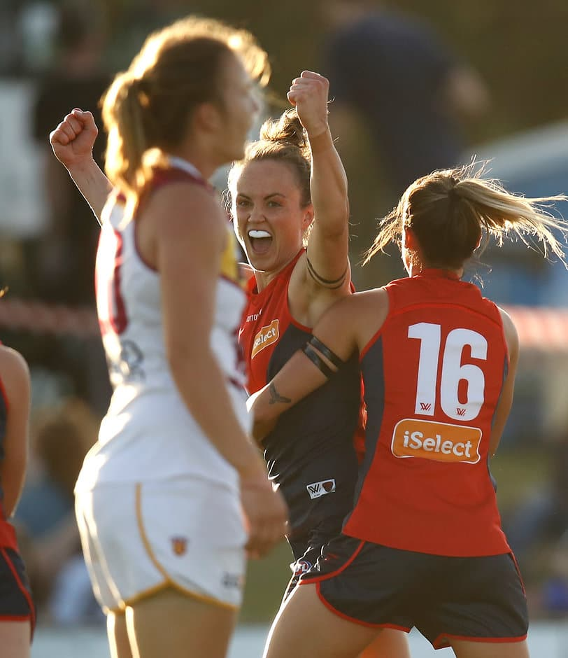 Demons captain Daisy Pearce celebrates one of her two goals - AFLW,Melbourne Demons,Brisbane Lions