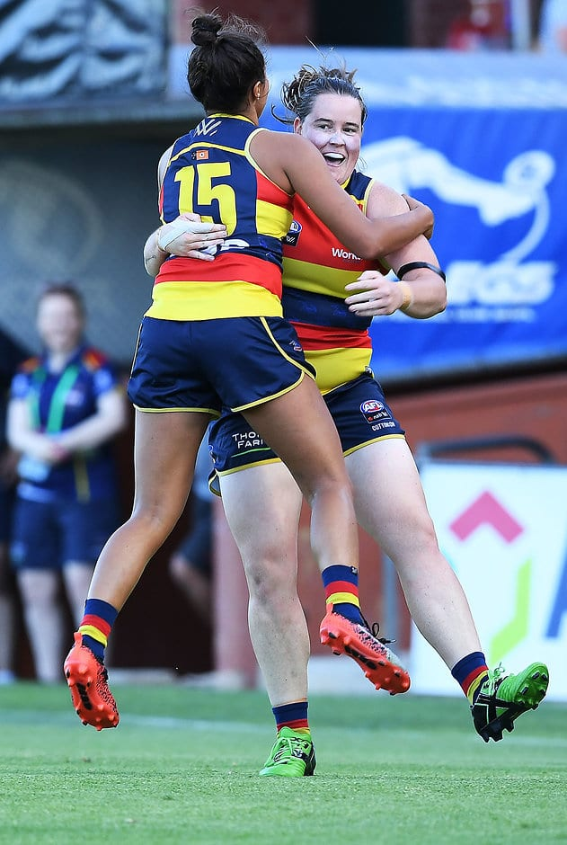 Ruth Wallace and Sarah Perkins celebrate a goal on Saturday evening - AFLW,Adelaide Crows,Carlton Blues,Norwood Oval