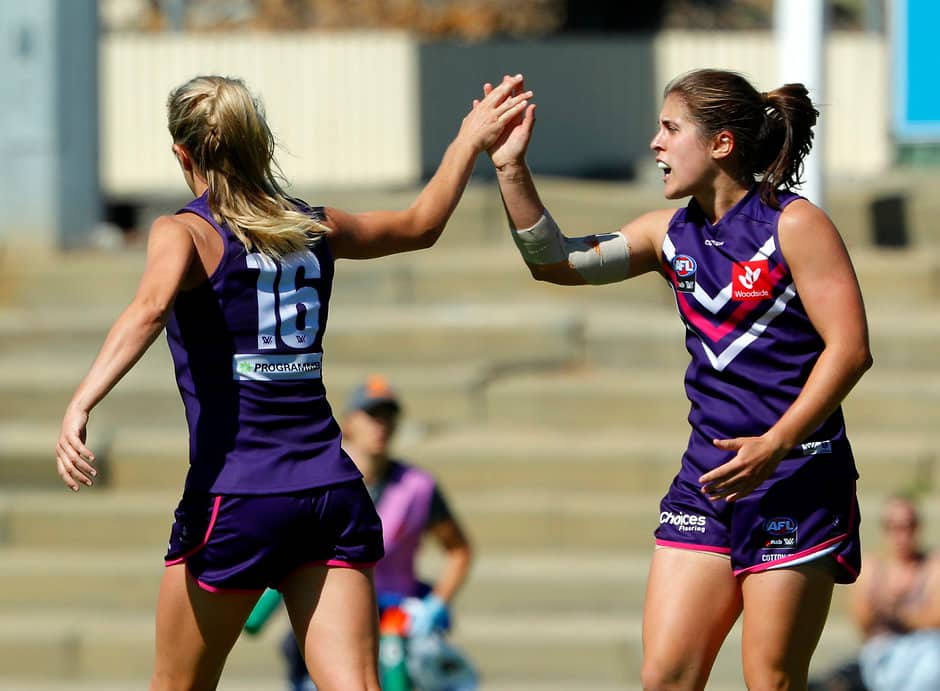 Gabby O'Sullivan celebrates a goal with Lisa Webb.  - Fremantle Dockers,Fremantle,AFLW