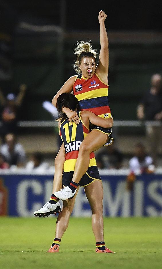 Ebony Marinoff celebrates the Crows' win over Carlton with Jessica Sedunary - AFLW,Ebony Marinoff,Adelaide Crows,Injuries