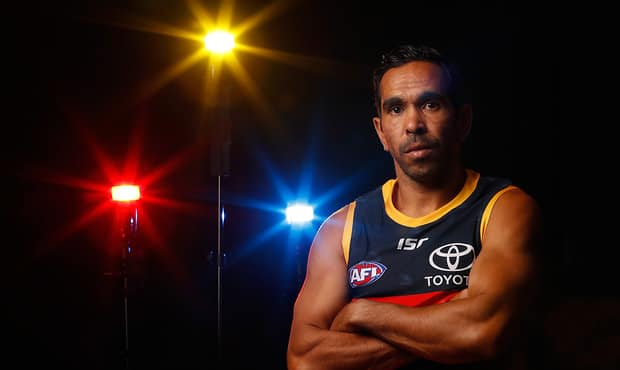 ADELAIDE, AUSTRALIA - MARCH 6: Eddie Betts of the Crows poses for a photograph during the Adelaide Crows 2018 official team photo day at AAMI Stadium on March 6, 2018 in Adelaide, Australia. (Photo by Michael Willson/AFL Media)