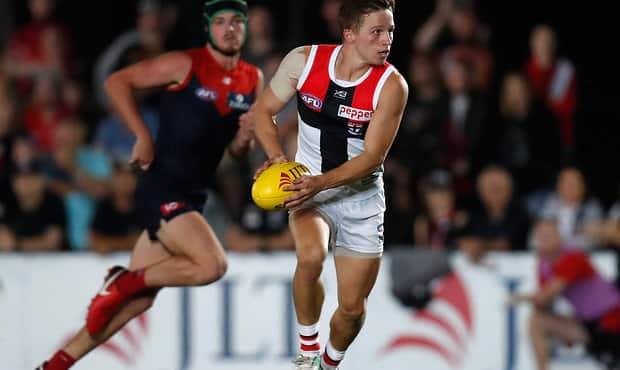 MELBOURNE, AUSTRALIA - MARCH 8: Jack Billings of the Saints in action during the AFL 2018 JLT Community Series match between the Melbourne Demons and the St Kilda Saints at Casey Fields on March 8, 2018 in Melbourne, Australia. (Photo by Michael Willson/AFL Media)