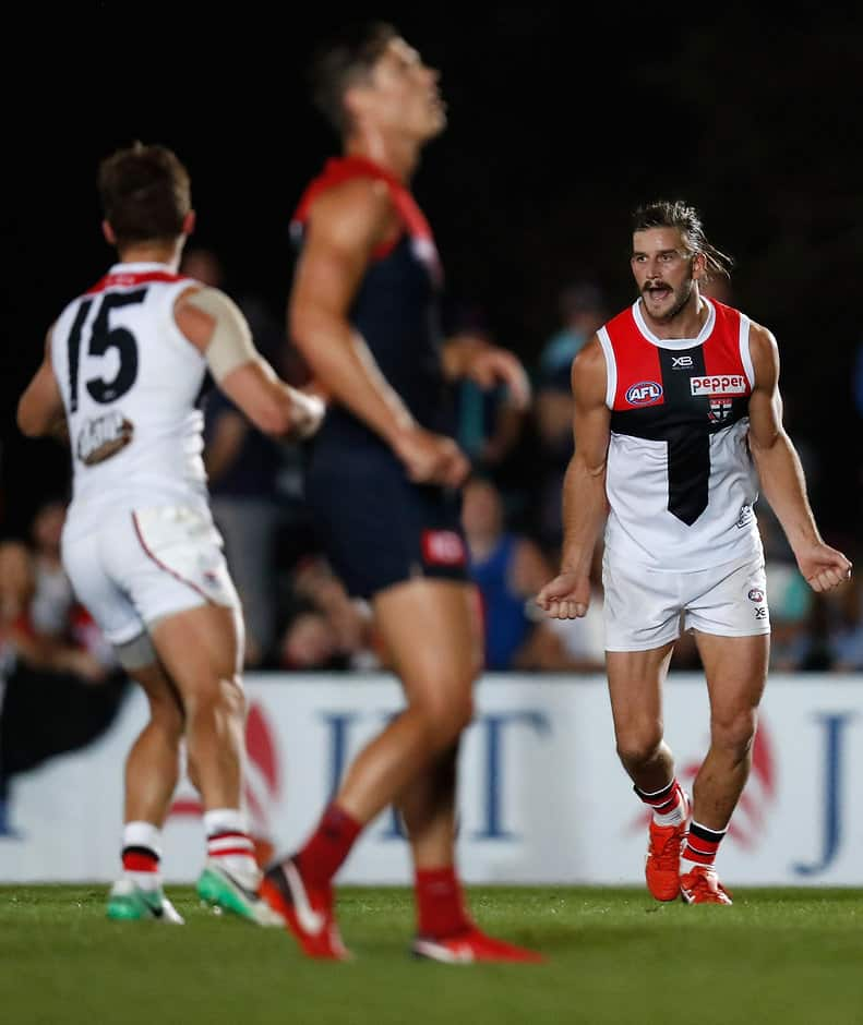 MELBOURNE, AUSTRALIA - MARCH 8: Josh Bruce of the Saints celebrates a goal during the AFL 2018 JLT Community Series match between the Melbourne Demons and the St Kilda Saints at Casey Fields on March 8, 2018 in Melbourne, Australia. (Photo by Michael Willson/AFL Media)