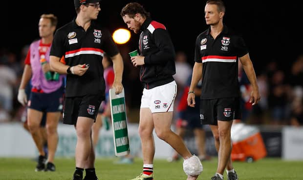 MELBOURNE, AUSTRALIA - MARCH 8: Jack Steven of the Saints is seen with ice on his ankle during the AFL 2018 JLT Community Series match between the Melbourne Demons and the St Kilda Saints at Casey Fields on March 8, 2018 in Melbourne, Australia. (Photo by Michael Willson/AFL Media)