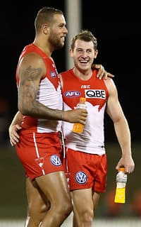 Lance Franklin celebrates the win with Harry Cunningham