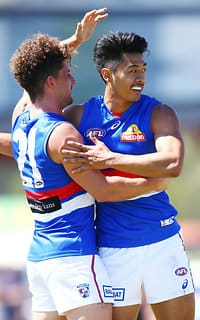 Lin Jong & Tom Liberatore stood out in Saturday's JLT Community Series clash with the Magpies. (Photo: AFL Media) - Western Bulldogs
