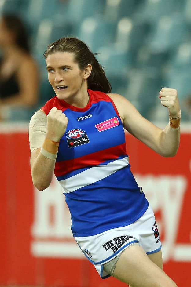 Kirsten McLeod in action for the Dogs - AFLW,Grand Final,Western Bulldogs,Brisbane Lions