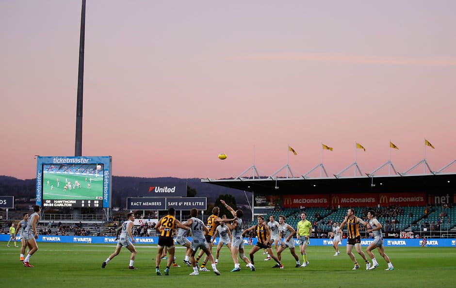 LAUNCESTON, AUSTRALIA - MARCH 10: A general view during the AFL 2018 JLT Community Series match between the Hawthorn Haws and the Carlton Blues at UTAS Stadium on March 10, 2018 in Launceston, Australia. (Photo by Michael Willson/AFL Media)