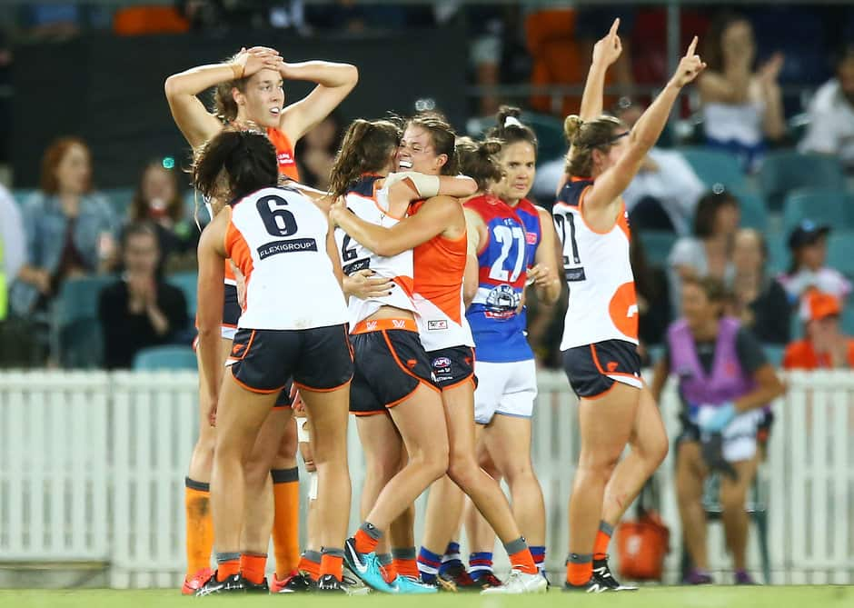 Giants celebrate their shock win over the Dogs last week - AFLW,GWS Giants
