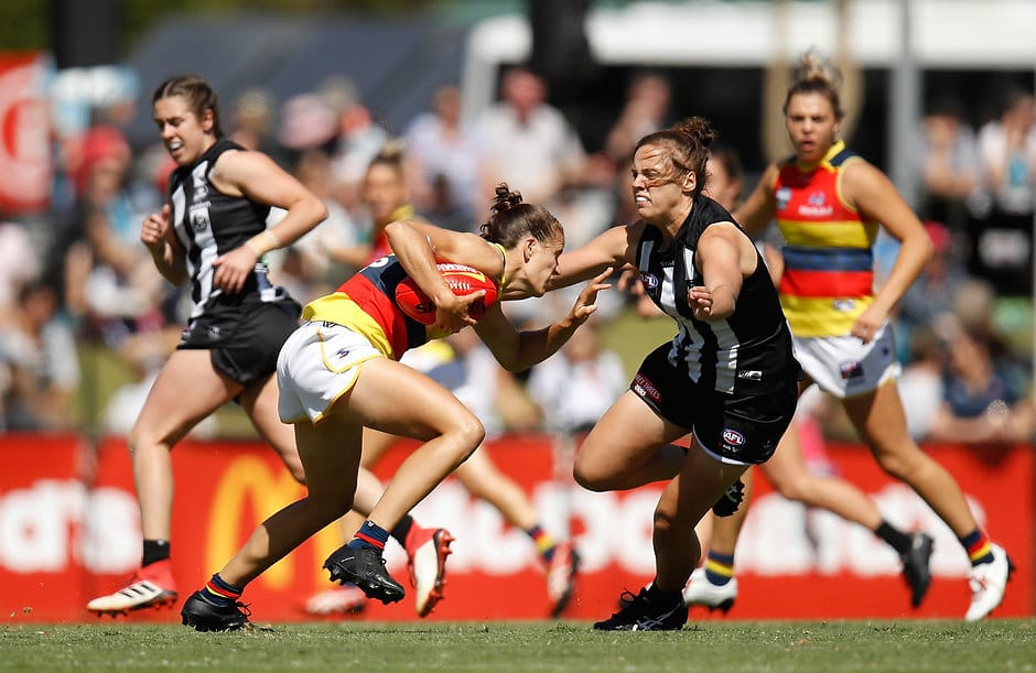 MELBOURNE, AUSTRALIA - MARCH 18: Chelsea Randall of the Crows and Jasmine Garner of the Magpies in action during the 2018 AFLW Round 07 match between the Collingwood Magpies and the Adelaide Crows at Olympic Park Oval on March 18, 2018 in Melbourne, Australia. (Photo by Michael Willson/AFL Media)