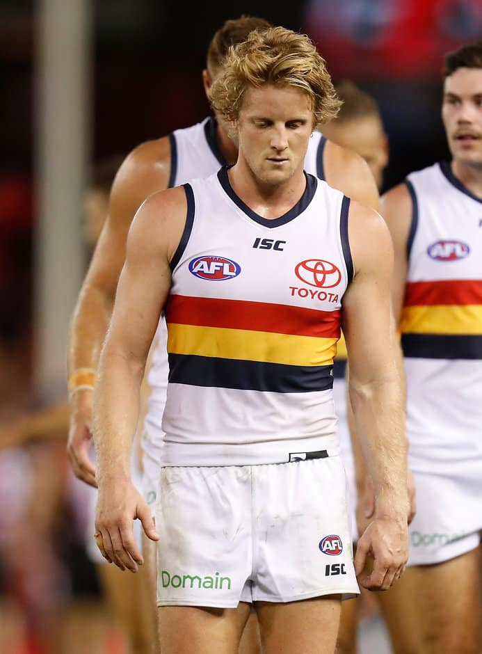 MELBOURNE, AUSTRALIA - MARCH 23: Rory Sloane of the Crows looks dejected after a loss during the 2018 AFL round 01 match between the Essendon Bombers and the Adelaide Crows at Etihad Stadium on March 23, 2018 in Melbourne, Australia. (Photo by Michael Willson/AFL Media)