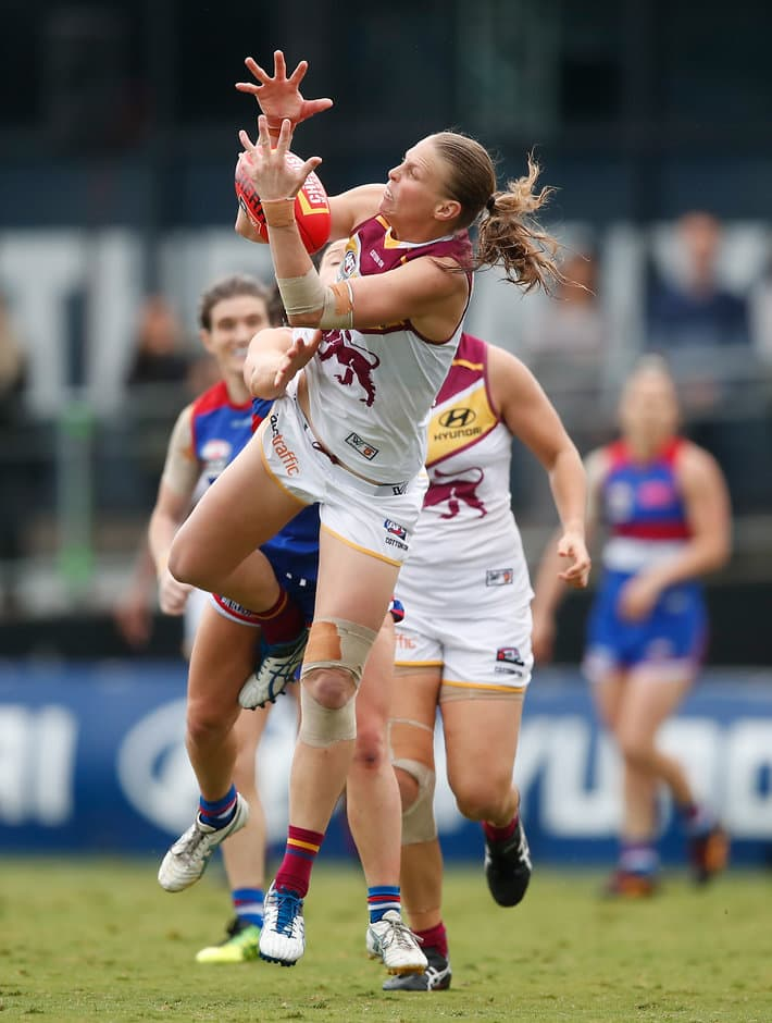 Kate Lutkins in action in last week's AFLW Grand Final - AFLW,Brisbane Lions,Kate Lutkins