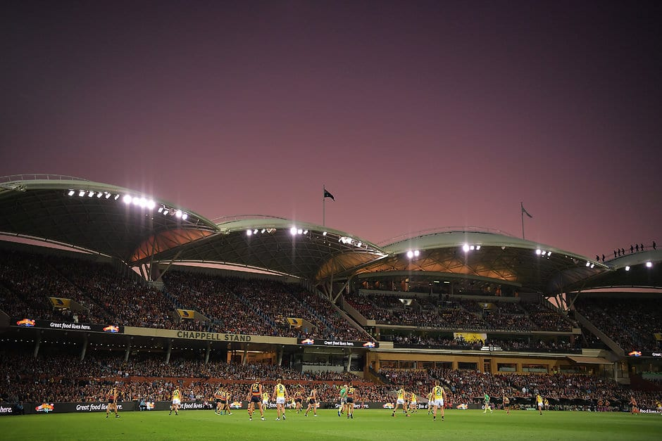 ADELAIDE, AUSTRALIA - MARCH 29:  A general view of play during the round two AFL match between the Adelaide Crows and the Richmond Tigers at Adelaide Oval on March 29, 2018 in Adelaide, Australia.  (Photo by Daniel Kalisz/Getty Images/AFL Media)