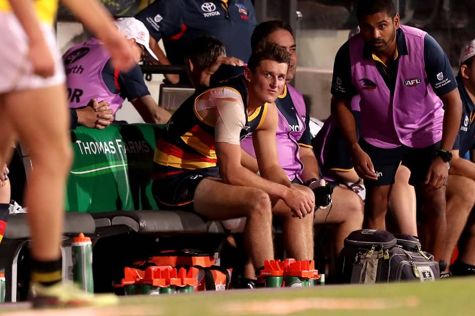 Matt Crouch suffered his first hamstring injury in round two - AFL,Adelaide Crows,Matt Crouch,Injuries