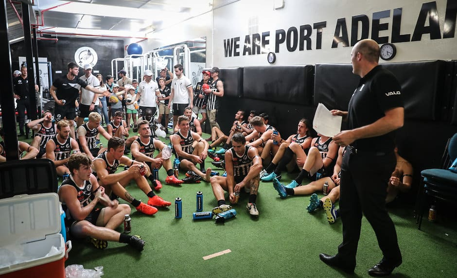 ADELAIDE, AUSTRALIA - MARCH 31: Magpies senior coach Matthew Lokan addresses the players after victory during the 2018 SANFL round 01 match between the Port Adelaide Magpies and Adelaide at Alberton Oval on March 31, 2018 in Adelaide, Australia. (Photo by AFL Media)