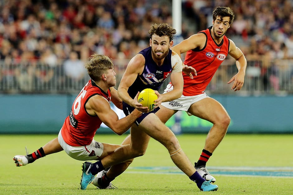 Fremantle have only played Essendon once at Optus Stadium. - Fremantle,Fremantle Dockers,AFL,Essendon,Optus Stadium,Essendon Bombers