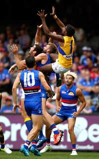 First-year Eagle Liam Ryan soars above the pack at Etihad Stadium