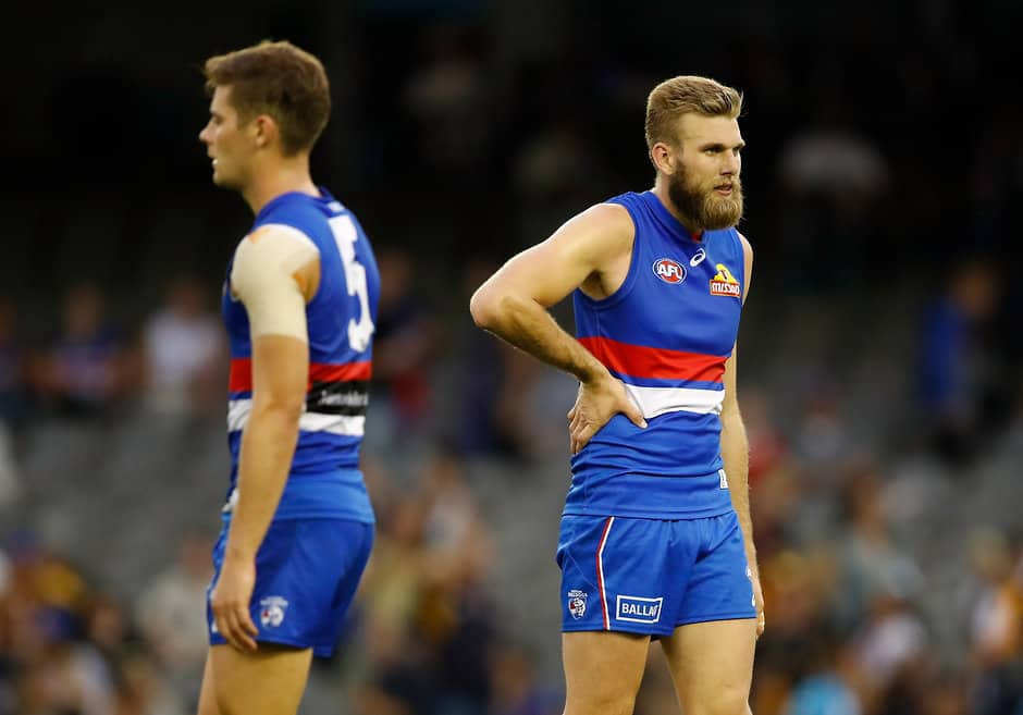 MELBOURNE, AUSTRALIA - APRIL 1: Jackson Trengove of the Bulldogs looks dejected after a loss during the 2018 AFL round 02 match between the Western Bulldogs and the West Coast Eagles at Etihad Stadium on April 1, 2018 in Melbourne, Australia. (Photo by Adam Trafford/AFL Media)