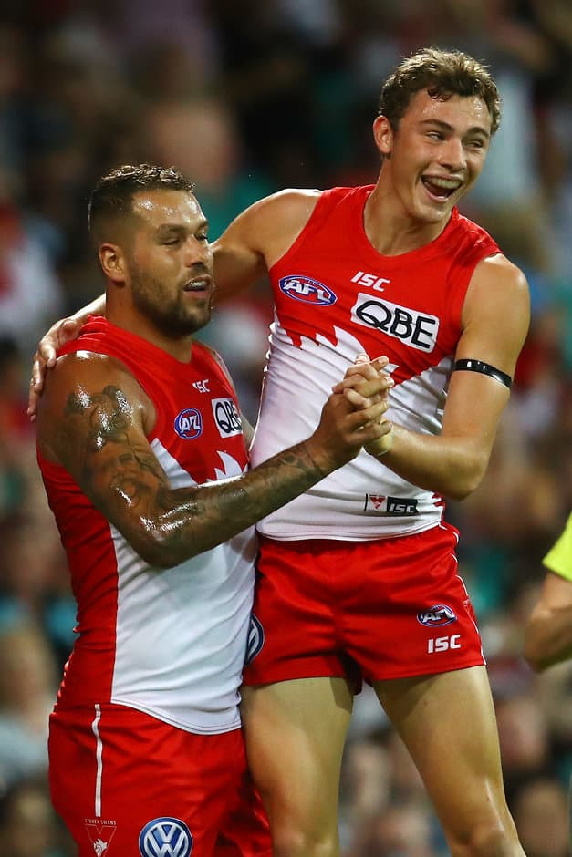 Will Hayward celebrates a goal with Lance Franklin - AFL,Contracts,Sydney Swans,Will Hayward