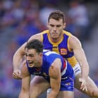 MELBOURNE, AUSTRALIA - APRIL 01:  Luke Shuey of the Eagles tackles Toby McLean of the Bulldogs during the round two AFL match between the Western Bulldogs and the West Coast Eagles at Etihad Stadium on April 1, 2018 in Melbourne, Australia.  (Photo by Scott Barbour/Getty Images/AFL Media)