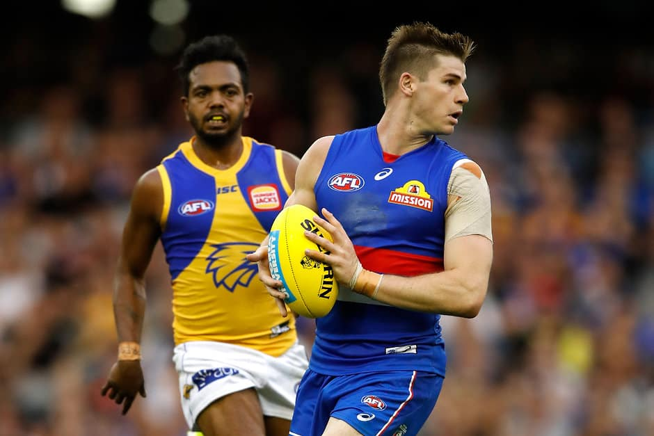 Billy Gowers in action against West Coast - AFL,Billy Gowers,Western Bulldogs