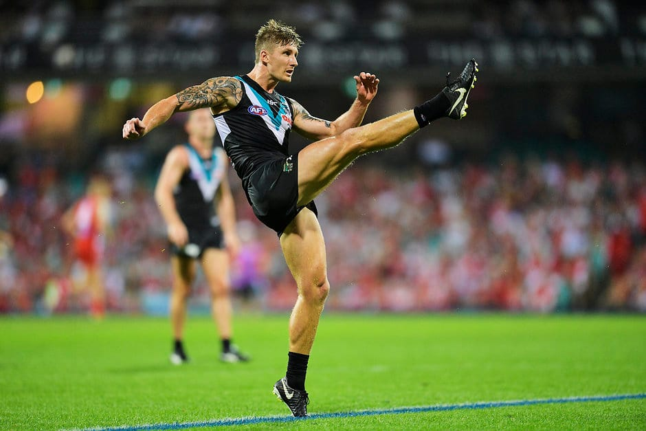 SYDNEY, AUSTRALIA - APRIL 01: Hamish Hartlett of the Power kicks for goal during the round two AFL match between the Sydney Swans and the Port Adelaide Power at the Sydney Cricket Ground on April 1, 2018 in Sydney, Australia.  (Photo by Brett Hemmings/AFL Media/Getty Images)
