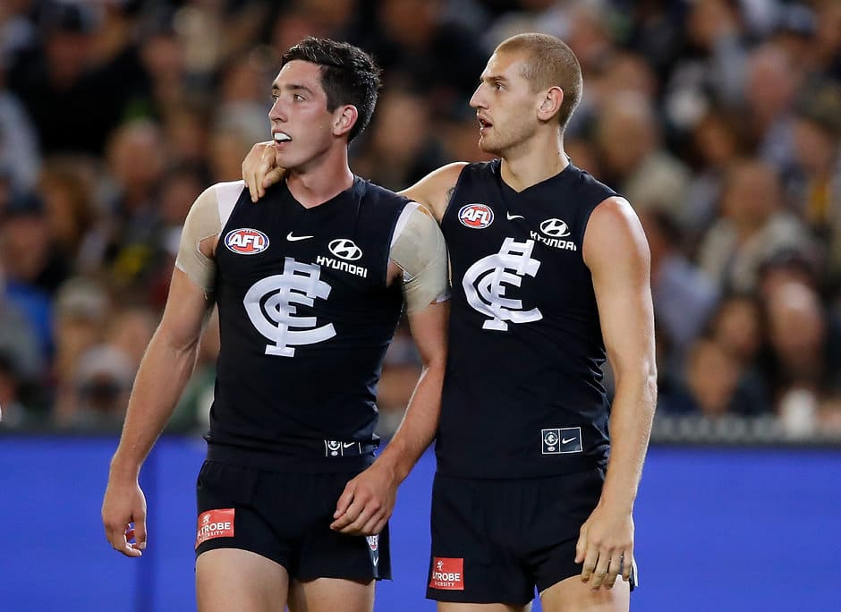 Jacob Weitering and Liam Jones have found it tough going in 2018 - AFL,Adelaide Crows,Brisbane Lions,Carlton Blues,Collingwood Magpies,Essendon Bombers,Fremantle Dockers,Geelong Cats,Gold Coast Suns,GWS Giants,Hawthorn Hawks,Melbourne Demons,North Melbourne Kangaroos,Port Adelaide Power,Richmond Tigers,St Kilda Saints,Sydney Swans,West Coast Eagles,Western Bulldogs