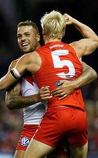 Lance Franklin and Isaac Heeney celebrate a goal