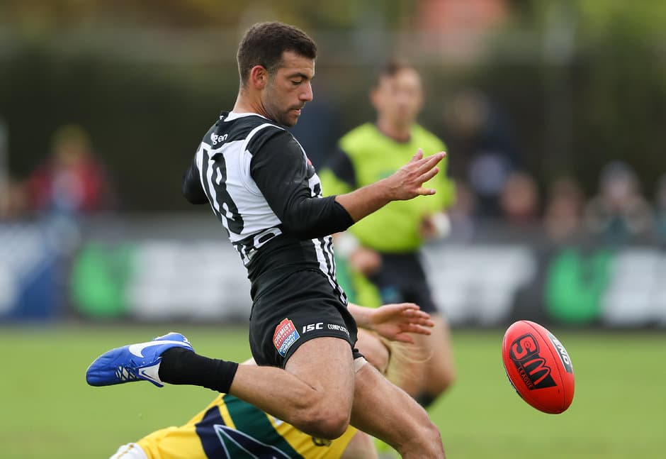 ADELAIDE, AUSTRALIA - April 14: Jimmy Toumpas of the Magpies during the 2018 SANFL round 03 match between the Port Adelaide Magpies and the Eagles at Alberton Oval on April 14, 2018 in Adelaide, Australia. (Photo by AFL Media)