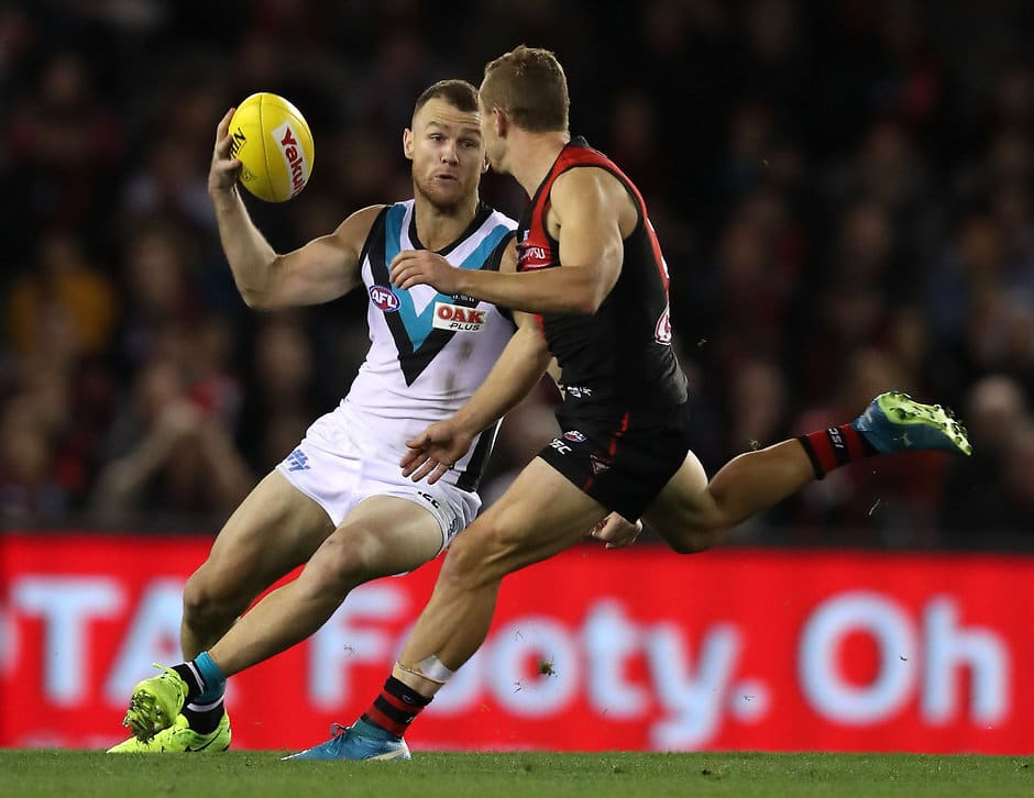 MELBOURNE, AUSTRALIA - APRIL 15: Robbie Gray of the Power in action during the 2018 AFL Round 04 match between the Essendon Bombers and the Port Adelaide Power at Etihad Stadium on April 15, 2018 in Melbourne, Australia. (Photo by Sean Garnsworthy/AFL Media)