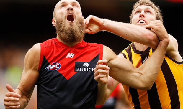 MELBOURNE, AUSTRALIA - APRIL 15:  Max Gawn of the Demons and Ben McEvoy of the Hawks compete during the round four AFL match between the Hawthorn Hawks and the Melbourne Demons at Melbourne Cricket Ground on April 15, 2018 in Melbourne, Australia.  (Photo by Daniel Pockett/AFL Media)