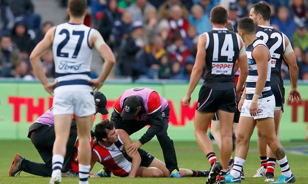 Dylan Roberton is alert and doing well after spending Sunday night in Geelong's Epworth Hospital - Dylan Roberton,St Kilda Saints,Geelong Cats,GMHBA Stadium