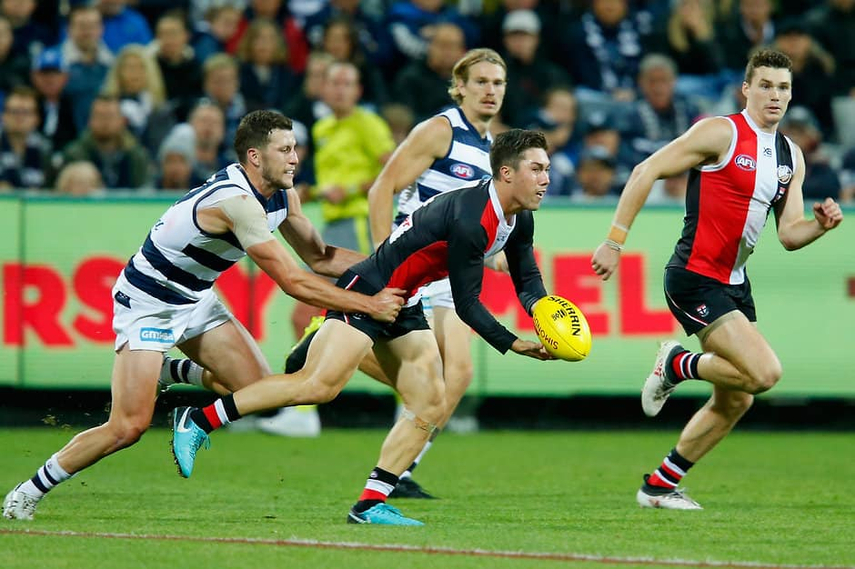GEELONG, AUSTRALIA - APRIL 15:  Jade Gresham of the Saints handballs during the round four AFL match between the Geelong Cats and the St Kilda Saints at GMHBA Stadium on April 15, 2018 in Geelong, Australia.  (Photo by Darrian Traynor/Getty Images/AFL Media)