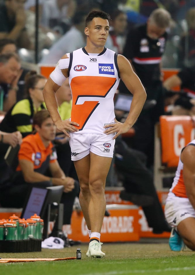 A frustrated Dylan Shiel prowls the boundary line during Saturday's draw with St Kilda - AFL,GWS Giants,Dylan Shiel