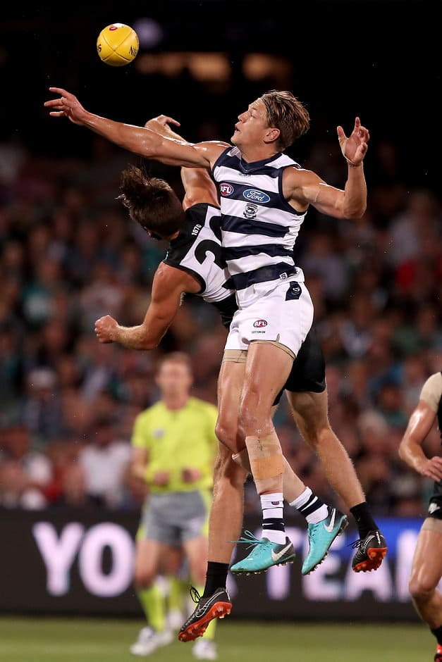 Geelong's Rhys Stanley and Port Adelaide's Justin Westhoff compete for the ball - AFL,Port Adelaide Power,Geelong Cats,Ken Hinkley,Chris Scott