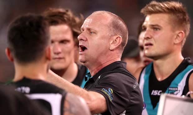 ADELAIDE, AUSTRALIA - APRIL 21: Ken Hinkley, Senior Coach of the Power during the 2018 AFL round five match between the Port Adelaide Power and the Geelong Cats at Adelaide Oval on April 21, 2018 in Adelaide, Australia. (Photo by James Elsby/AFL Media)