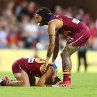 BRISBANE, AUSTRALIA - APRIL 22:  Charlie Cameron and Allen Christensen of the Lions react after losing the round five AFL match between the Brisbane Lions and the Gold Coast Suns at The Gabba on April 22, 2018 in Brisbane, Australia.  (Photo by Chris Hyde/Getty Images/AFL Media)
