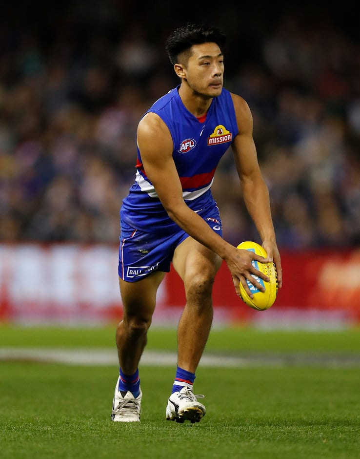 MELBOURNE, AUSTRALIA - APRIL 27: Lin Jong of the Bulldogs in action during the 2018 AFL round six match between the Western Bulldogs and the Carlton Blues at Etihad Stadium on April 27, 2018 in Melbourne, Australia. (Photo by Michael Willson/AFL Media)