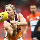 SYDNEY, AUSTRALIA - APRIL 28:  Daniel Rich of the Lions handballs during the round six AFL match between the Greater Western Sydney Giants and the Brisbane Lions at Spotless Stadium on April 28, 2018 in Sydney, Australia.  (Photo by Matt King/AFL Media)