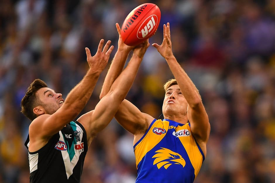 PERTH, AUSTRALIA - MAY 5: Brad Sheppard of the Eagles takes a mark during the 2018 AFL round seven match between the West Coast Eagles and the Port Adelaide Power at Optus Stadium on May 5, 2018 in Perth, Australia. (Photo by Daniel Carson/AFL Media)