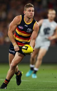 ADELAIDE, AUSTRALIA - MAY 5: Rory Laird of the Crows during the 2018 AFL round seven match between the Adelaide Crows and the Carlton Blues at Adelaide Oval on May 5, 2018 in Adelaide, Australia. (Photo by AFL Media)