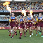 BRISBANE, AUSTRALIA - MAY 6: Lions run out during the 2018 AFL round seven match between the Brisbane Lions and the Collingwood Magpies at the Gabba on May 6, 2018 in Brisbane, Australia. (Photo by Jason O'Brien/AFL Media)